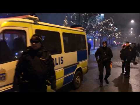 New Year's Eve on Möllevångstorget, Malmö Sweden. Fireworks directed against people