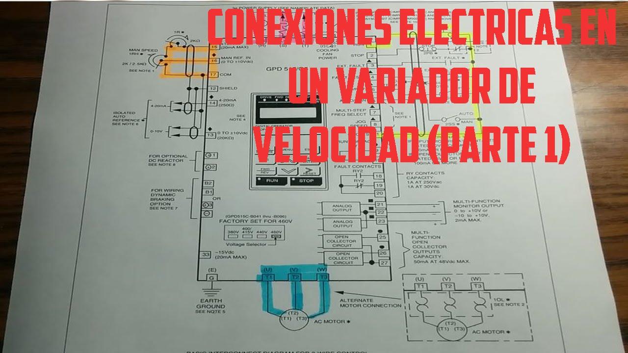 Circuito Variador De Frecuencia : Conexiones eléctricas en un variador de velocidad parte1 youtube