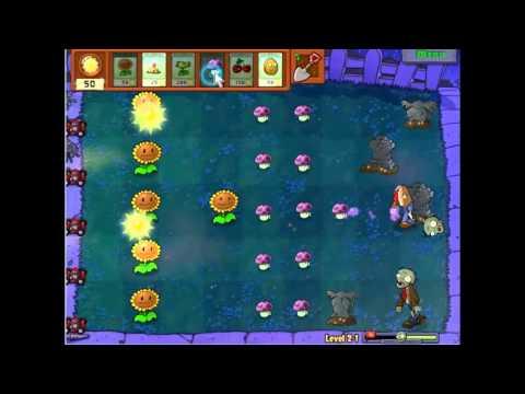 Gameplay-Plants Vs Zombies Level 2-1