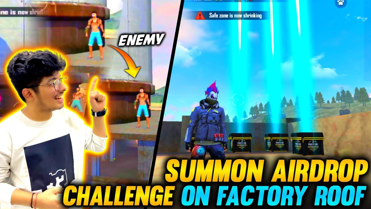 FREEFIRE || SUMMON AIRDROP CHALLENGE ON FACTORY ROOF WITH FUNNY ENEMIES ||😂 LIVE REACTION OF TSG