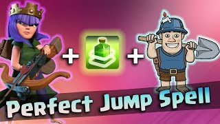 How To Use Perfect Jump Spell In Queen Walk Miner Attack! Best Queen Walk Miner 3star War Strategy