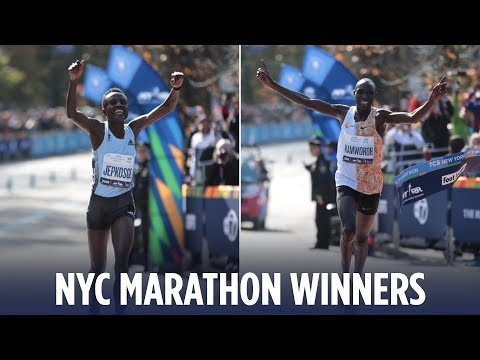 Winners of the 2019 NYC Marathon cross finish line