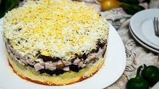 Закусочный торт салат