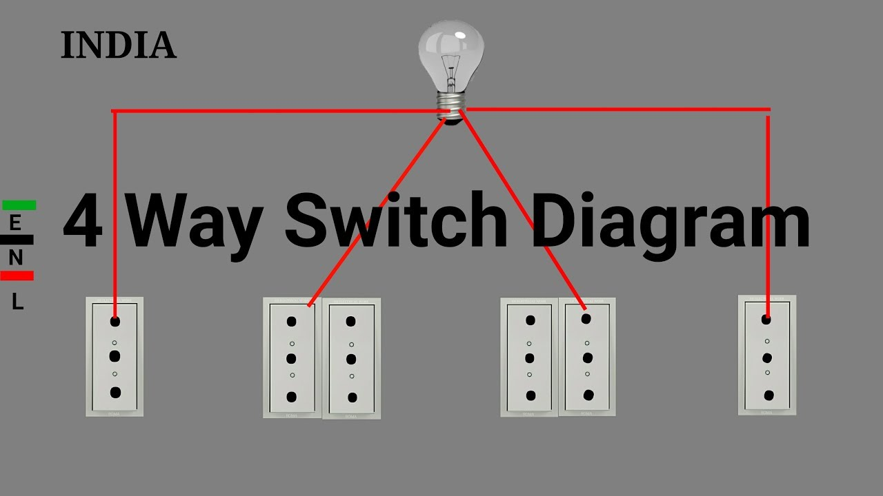 4 way switches wiring diagram - youtube  youtube