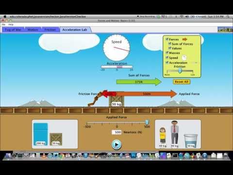 PhET Force And Motion Basics Acceleration - YouTube