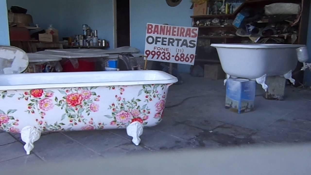 Pintura banheira, pintura de banheira com troca de cor, pintura em banheiras  -> Banheiro Com Banheira De Ferro