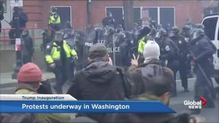 Protesters and police clash in Washington following Trump inauguration