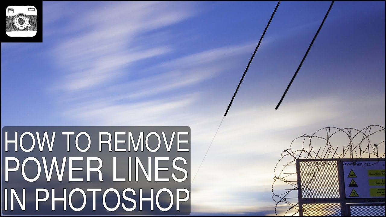 How to remove power lines in Photoshop - YouTube