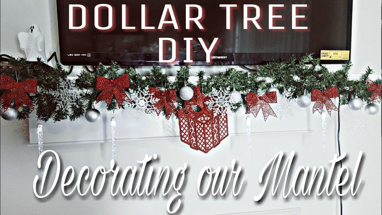 DOLLAR TREE DIY CHRISTMAS DECOR:DECORATE YOUR MANTEL ON A