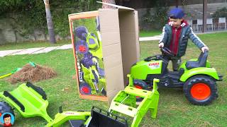 Kid ride on Toy Tractor Sportbike and Cars Compilation video with Tema