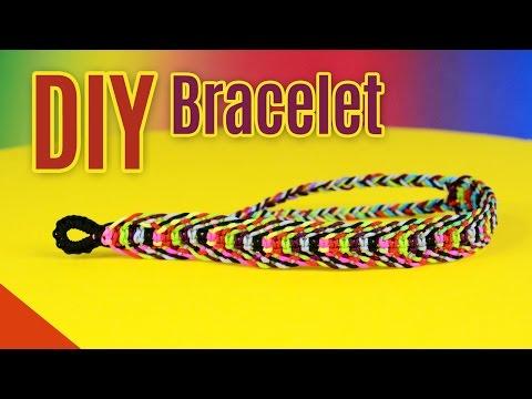 DIY Rainbow Fishbone Bracelet   Square Knot Weave Tutorial