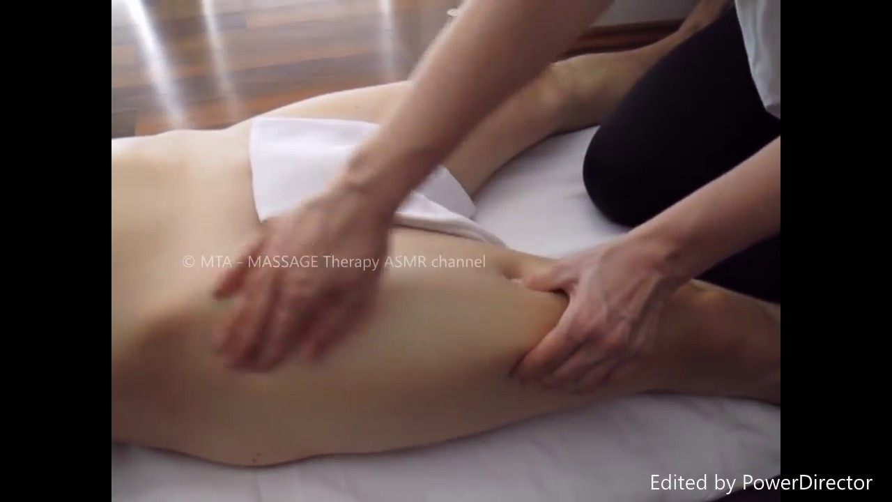 Erotic massage therapist body strokes