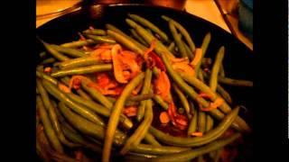 Mushroom Onion Garlic And Bacon Greenbeans