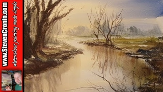Watercolour painting demo of a simple river scene
