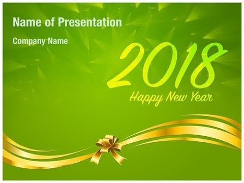 2018 New Year wishes on Green Background PowerPoint Template