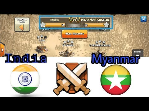 IND VS MYANMAR || clash of clans war || Epic attack by indian team clash of clans | 10 vs 10 lvl war