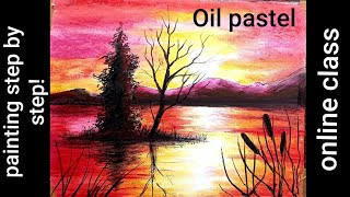 Oil Pastel Sunset Painting Online Class