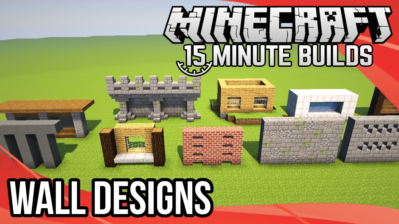 Minecraft 15 Minute Builds Wall Designs Youtube