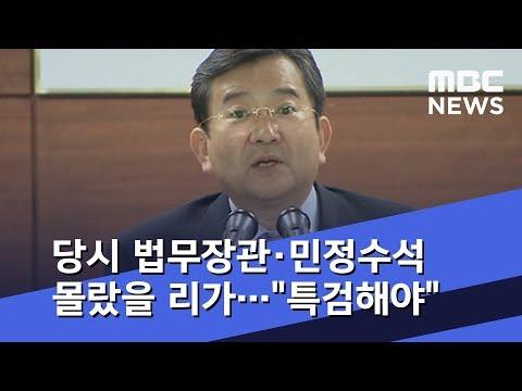 """당시 법무장관·민정수석 몰랐을 리가…""""특검해야""""  (2019.03.15/뉴스데스크/MBC)"""