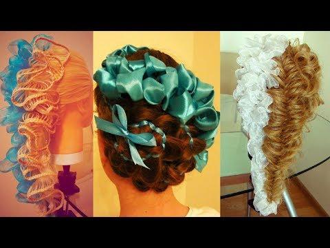 Сборник  Косы с лентами  Красивые причёски на выпуской и последний звонок  Hair Tutorial