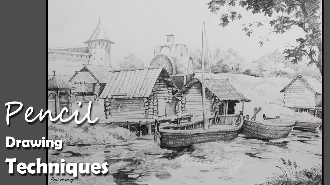 Pencil drawing techniques how to draw a beautiful landscape step by step youtube