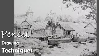Pencil Drawing Techniques | How to Draw A Beautiful Landscape | step by step