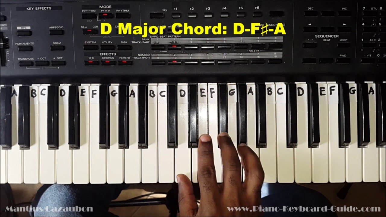How to play the d major chord on piano and keyboard youtube for Moderni piani a 4 piani