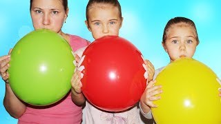 Learn colors with balloons video for kids by Elina and Julia funny girls