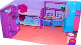 DIY Miniature Cardboard House bathroom, bedroom, living room for two