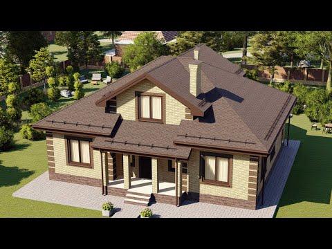 Проект мансардного дома из кирпича с удобной планировкой