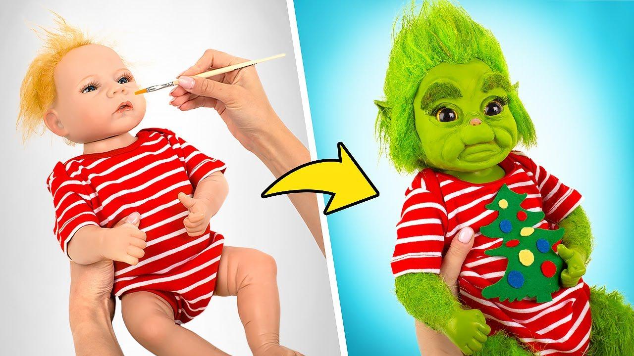 Impresionante transformación de la muñeca Reborn en el bebé Grinch