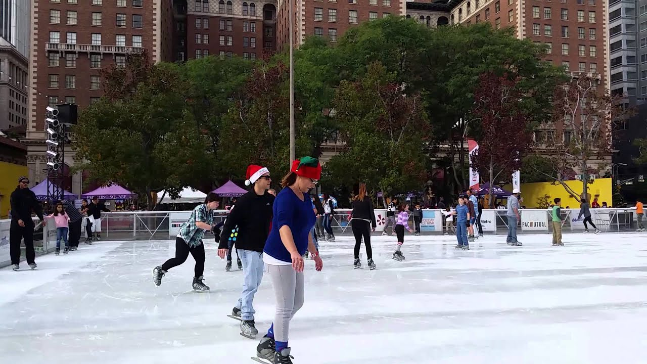 ice skating in pershing square youtube. Black Bedroom Furniture Sets. Home Design Ideas