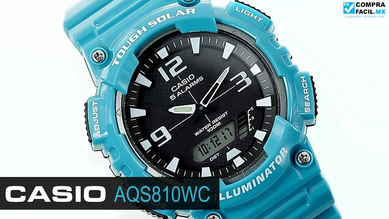 4ff9fffd90c6 Reloj Casio AQS810 Turquesa - www.CompraFacil.mx - YouTube