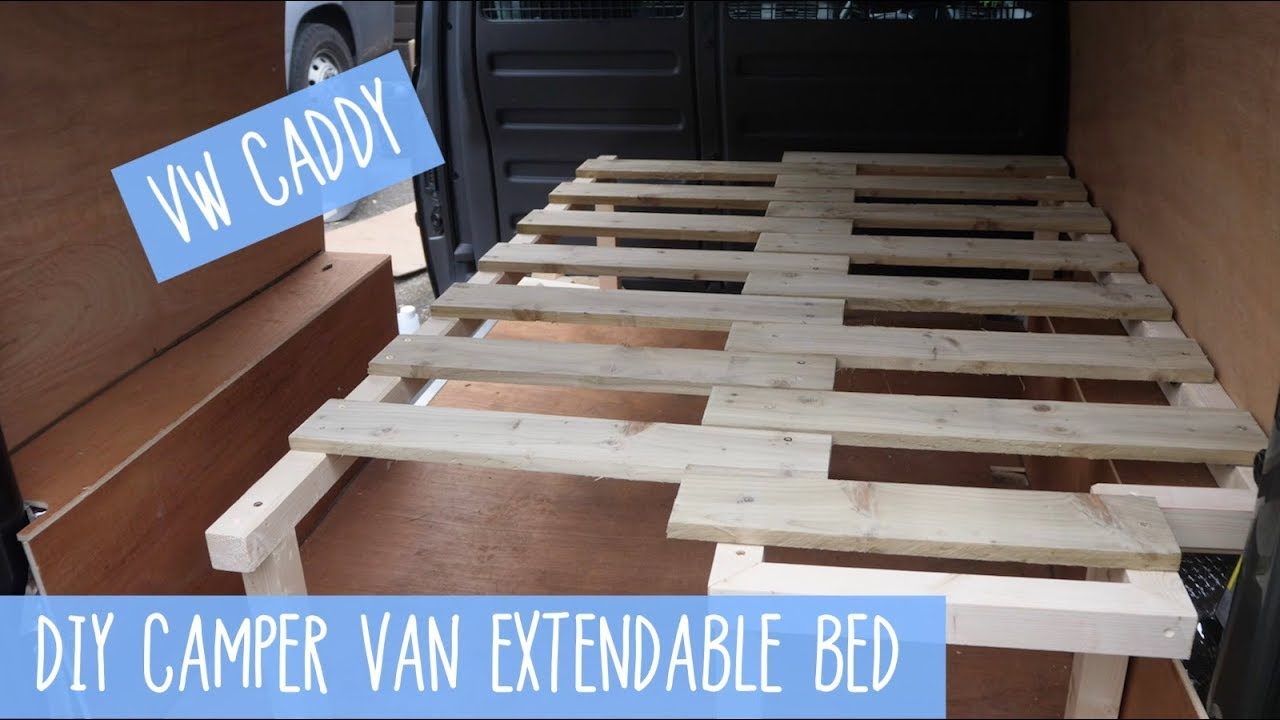 VW Caddy Pull Out/Extendable Bed DIY Camper Van