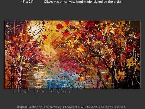 Best of Home Decor Forest Lake landscape paintings - ART by LENA Karpinsky
