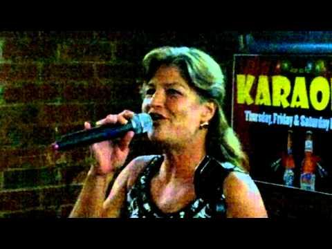 Lori in Charlotte at Steamers Sports Bar Karaoke singing Doobie Brothers, Long Train Running