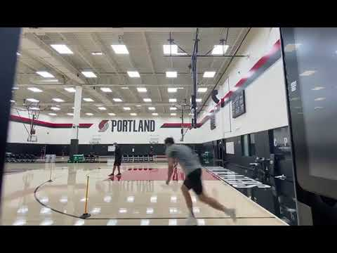 Jusuf Nurkic running around the perimeter and draining threes in practice