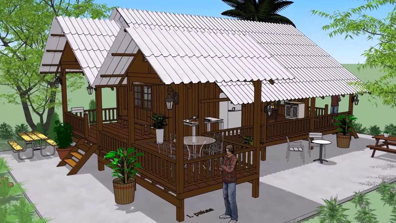 บ้านไม้ในสวน  ต่อเติมพื้นที่ด้านหลัง    ( No. 015 )    Sketchup by  : i. pakdee