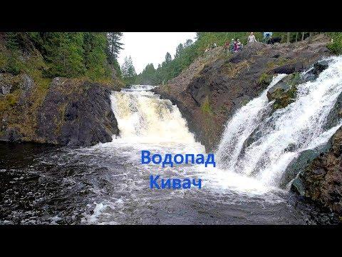 Полет коптера над каскадами водопада Кивач. Жемчужина карельской природы. 4k. 17.08