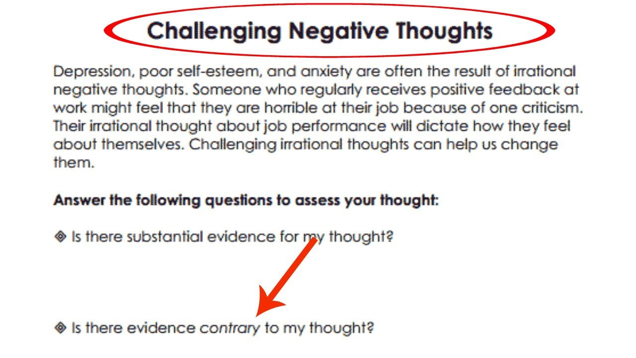 worksheet Negative Self Talk Worksheet therapy with me challenging negative thoughts youtube thoughts