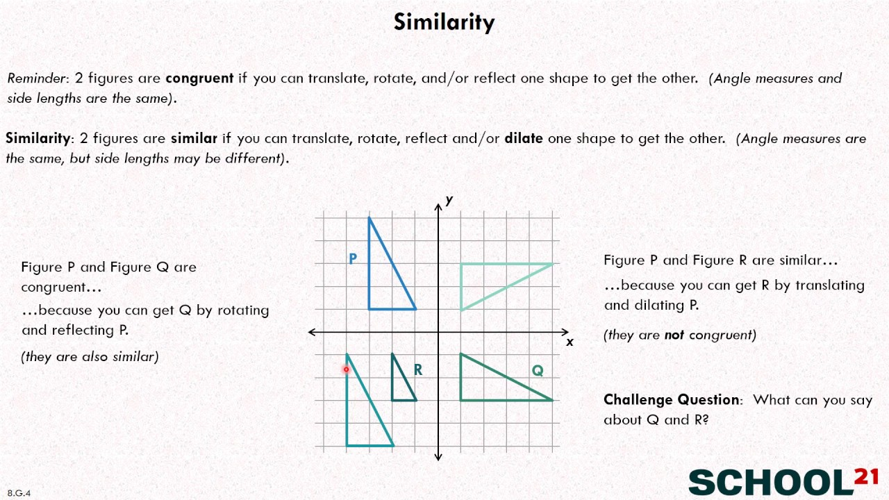 Similarity & Transformations (examples, solutions, videos