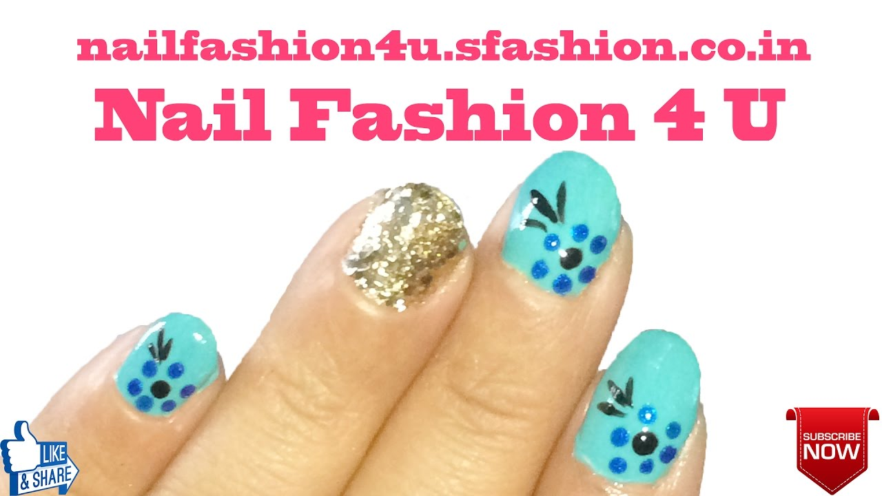 Glitter and fancy colour nail art on short nails in Telugu language ...