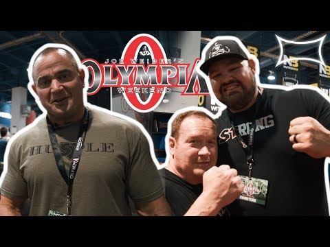 Mark Bell, Ed Coan, and Brian Shaw at Olympia 2017