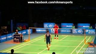 Chen Long strategies in beating Lee Chong Wei in a rally.  Super Rally!