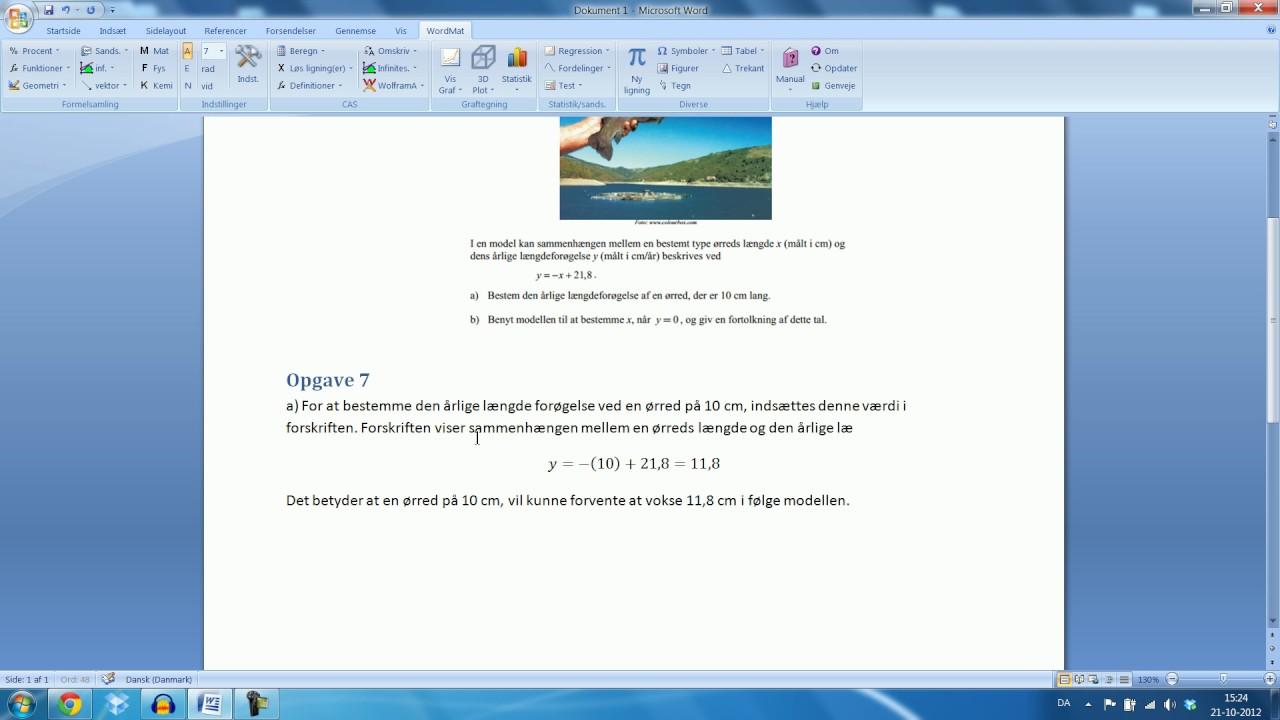 Skriftlig eksamen Mat B - 15.August 2012 Opgave 7