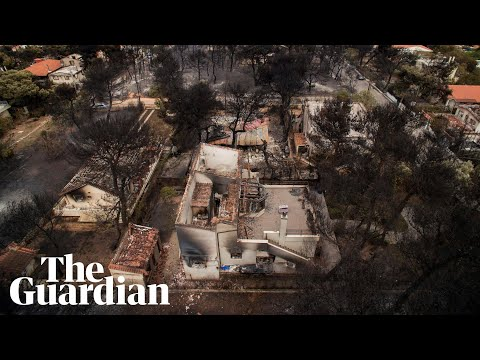 Aerial footage shows homes destroyed by Athens wildfires
