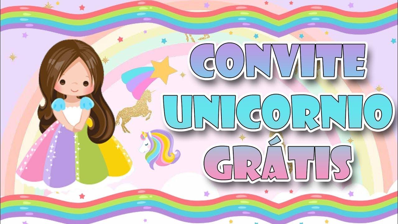 Convite Animado Grátis Unicornio Youtube