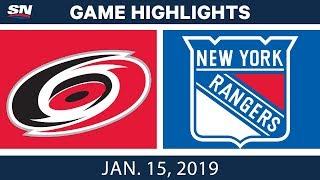 NHL Highlights | Hurricanes vs. Rangers - Jan. 15, 2019