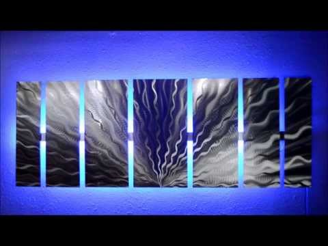 Silver Vibration LED Lighted Metal Wall Art by Brian M Jones