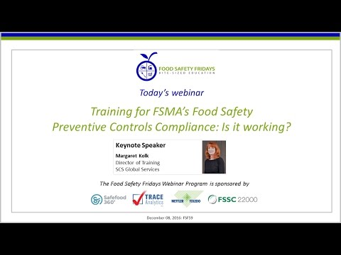 Training for FSMA's Food Safety Preventive Controls Complian